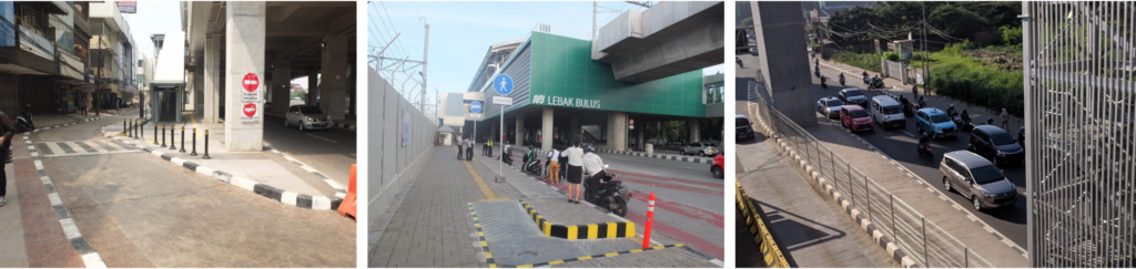 LEFT: A drop-off zone under Blok A station; MIDDLE & RIGHT: Lack of drop off zone in Lebak Bulus & Fatmawati. A lot of police are situated at the front of Lebak Bulus Grab's station to ensure no clogging from people dropping off passengers at the traffic whilst a clog happened in Fatmawati station caused by the lack of drop-off zone.