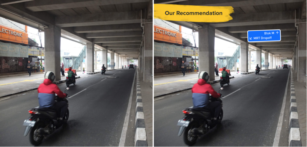 LEFT: No visible sign for drop off area; RIGHT: Our recommendation. The lack of visible signage causes people to stop for drop off on the main road that might disturb the traffic.