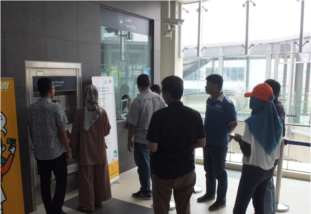 Group of 5 decided to drop off from the Automatic Ticketing Machine. They ended up not using the Automatic Ticketing Machine and ask the locket to help them purchase their ticket as they're not comfortable using it.