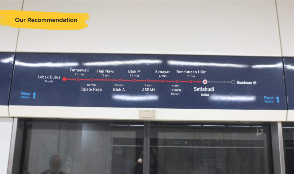 We recommend adding the estimated travel time so that people can know the time needed for travel and don't need to be too anxious about getting off in the wrong station.
